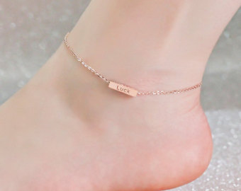 rose gold anklet, custom word stamp, engraved 4 sides, design name, 3d hbpqiop