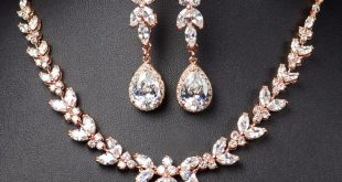 rose gold bridal bridesmaid jewelry set .long earrings seygoxx