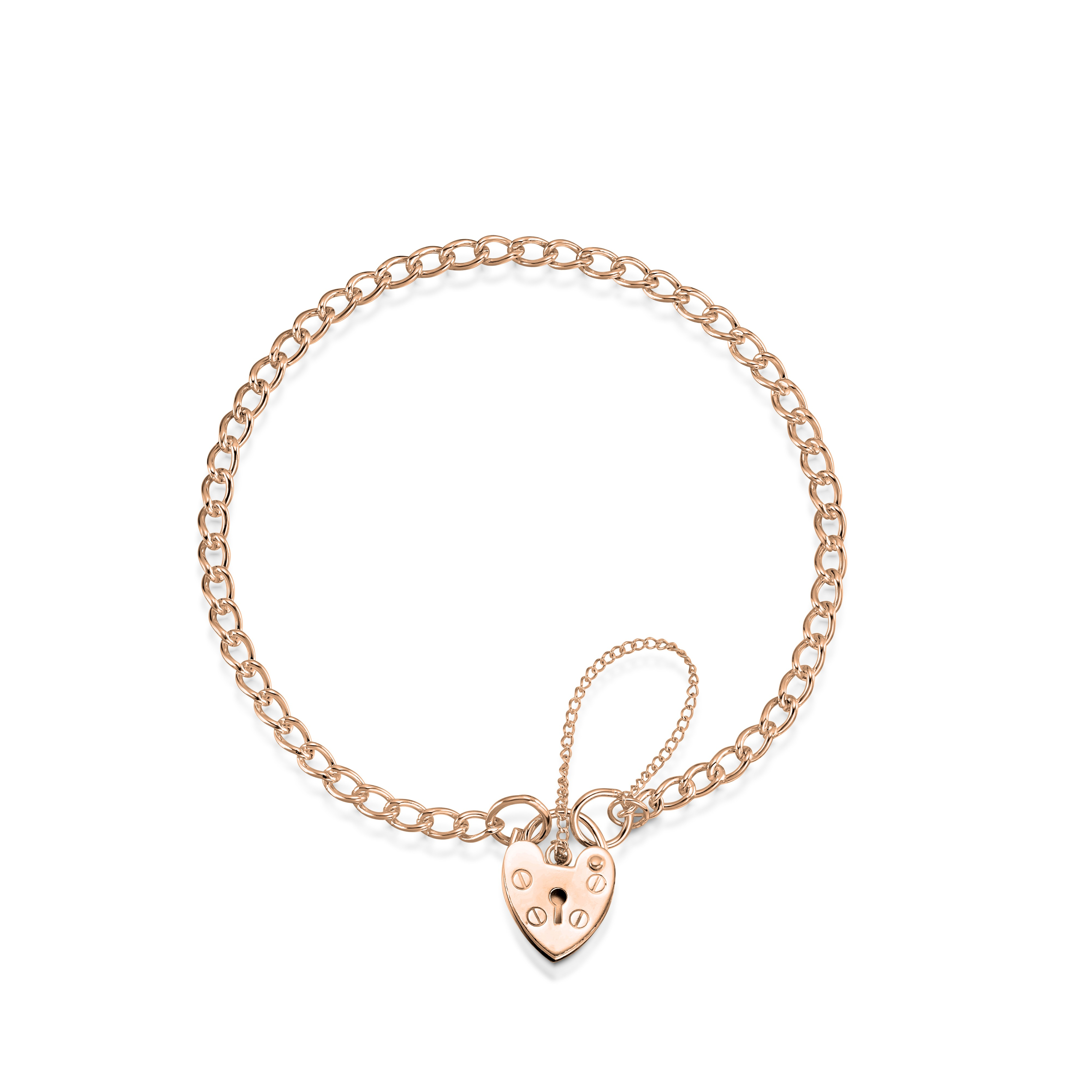 rose gold charm bracelet 9ct rose gold curb charm bracelet with heart shape padlock vundpmt