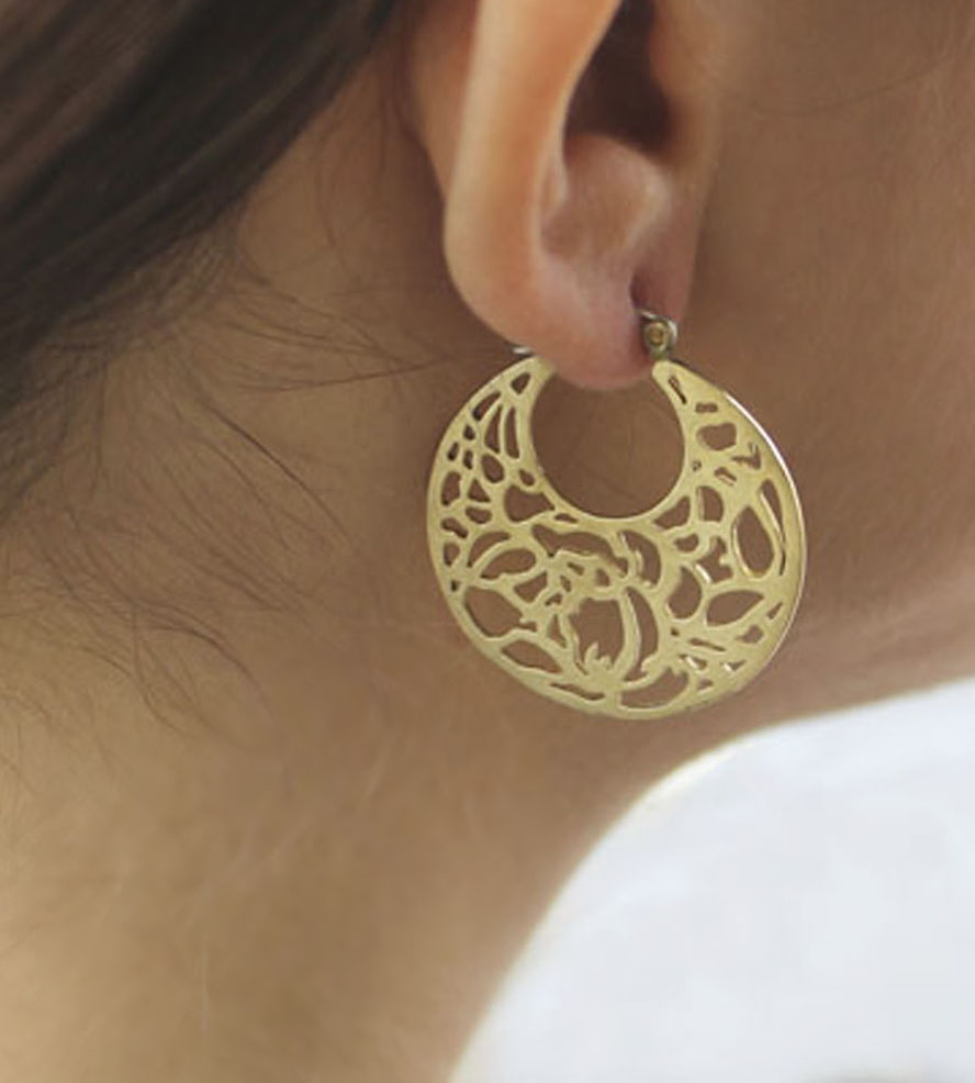 rose u0026 leaf filigree earrings | inspired by the beautiful floral prints on  traditional dllkftw