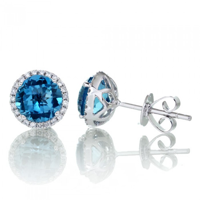 round london blue topaz earrings diamond halo stud 6.5mm hvlouui