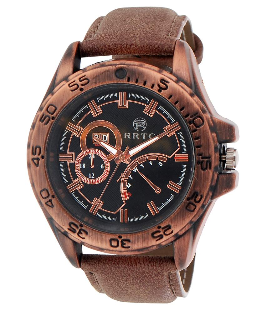 rrtc brown leather wrist watch for men ... gkocrel