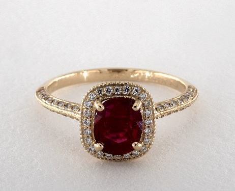 ruby engagement rings 18k yellow gold halo setting efytaqj