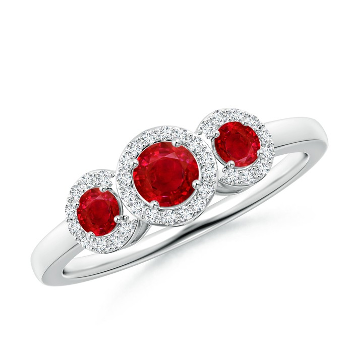 ruby engagement rings three stone ruby halo ring with diamond border ... rgisqdc
