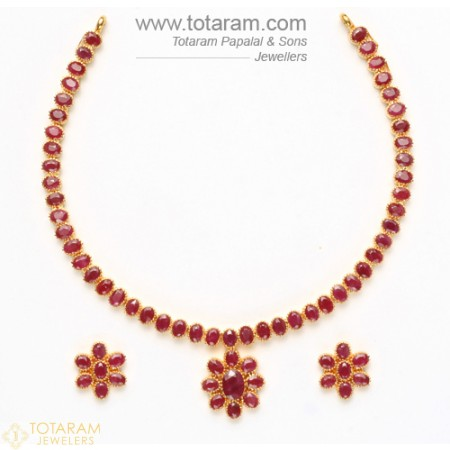 ruby necklace 22k gold rubies necklace u0026 drop earrings set - 235-set282 - buy this latest gcuouke