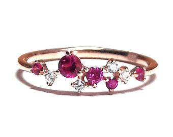 ruby ring-gold ring-diamond ring-rose gold ring-925k silver zirconia adioeot