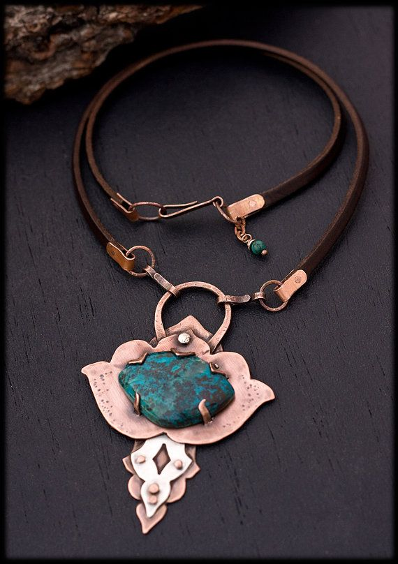 rustic copper necklace: lotus necklace - oxidized copper jewelry - unique  talisman necklace - etcqolm