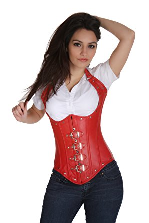 sc80017b shaper corset real leather underbust corset steel boned waist  cincher frkullv
