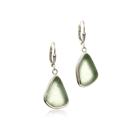 sea glass and silver drop earrings - calm bay asxwgfo