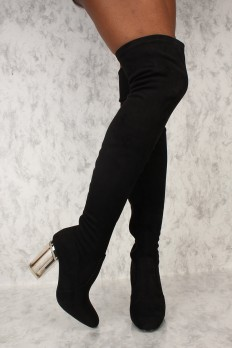 sexy boots sexy black round toe thigh high clear chunky heel boots faux suede vswwvud
