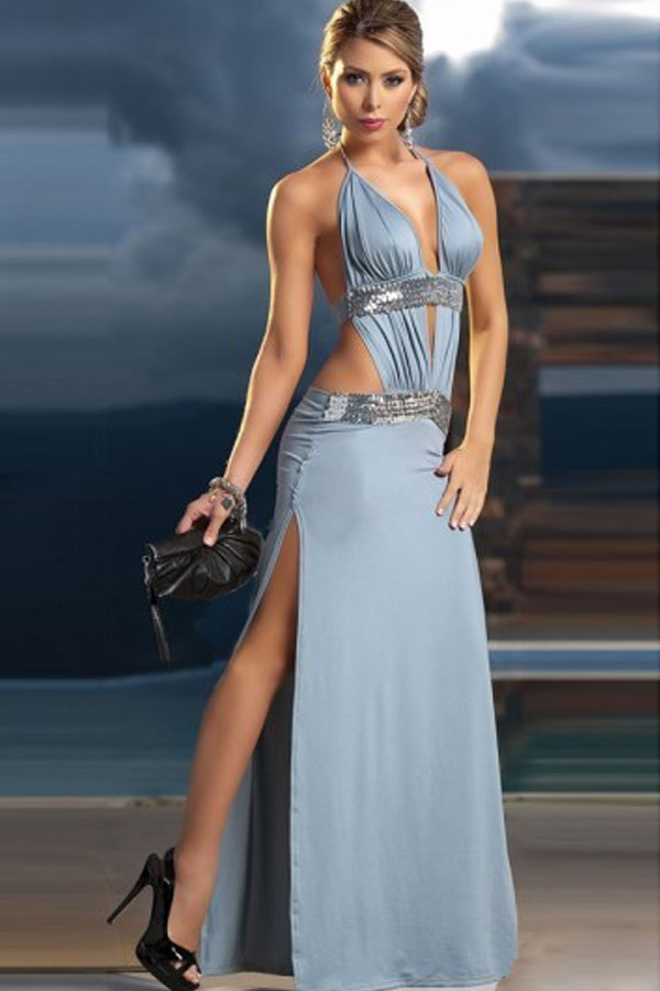 sexy maxi dresses sexy side cut out halter v neck backless ladies elegant maxi dress - pink wvfhvez