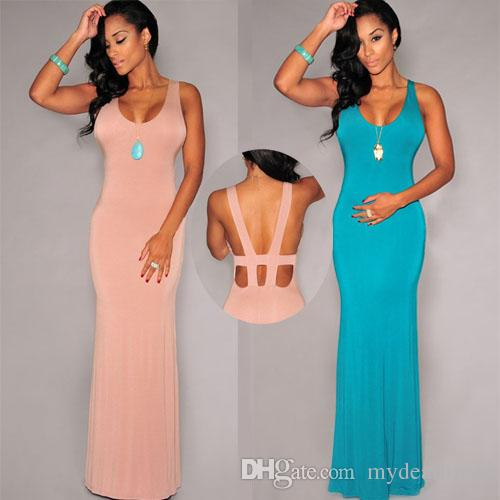 sexy maxi dresses women sexy backless tank maxi dresses long dress turquoise pink slim one  size tropical ynpwnku