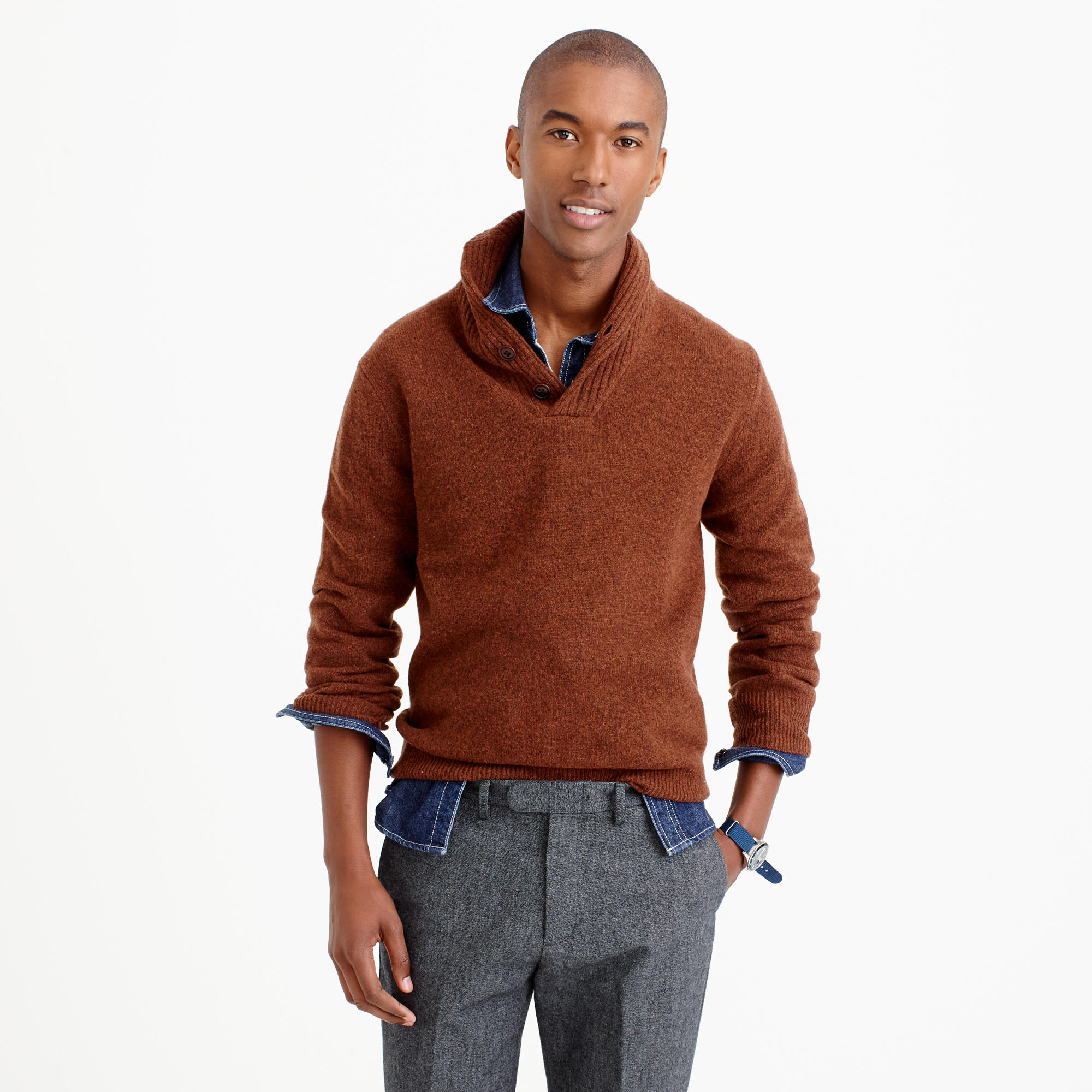 shawl collar sweater lambswool shawl-collar sweater ... pepqtin