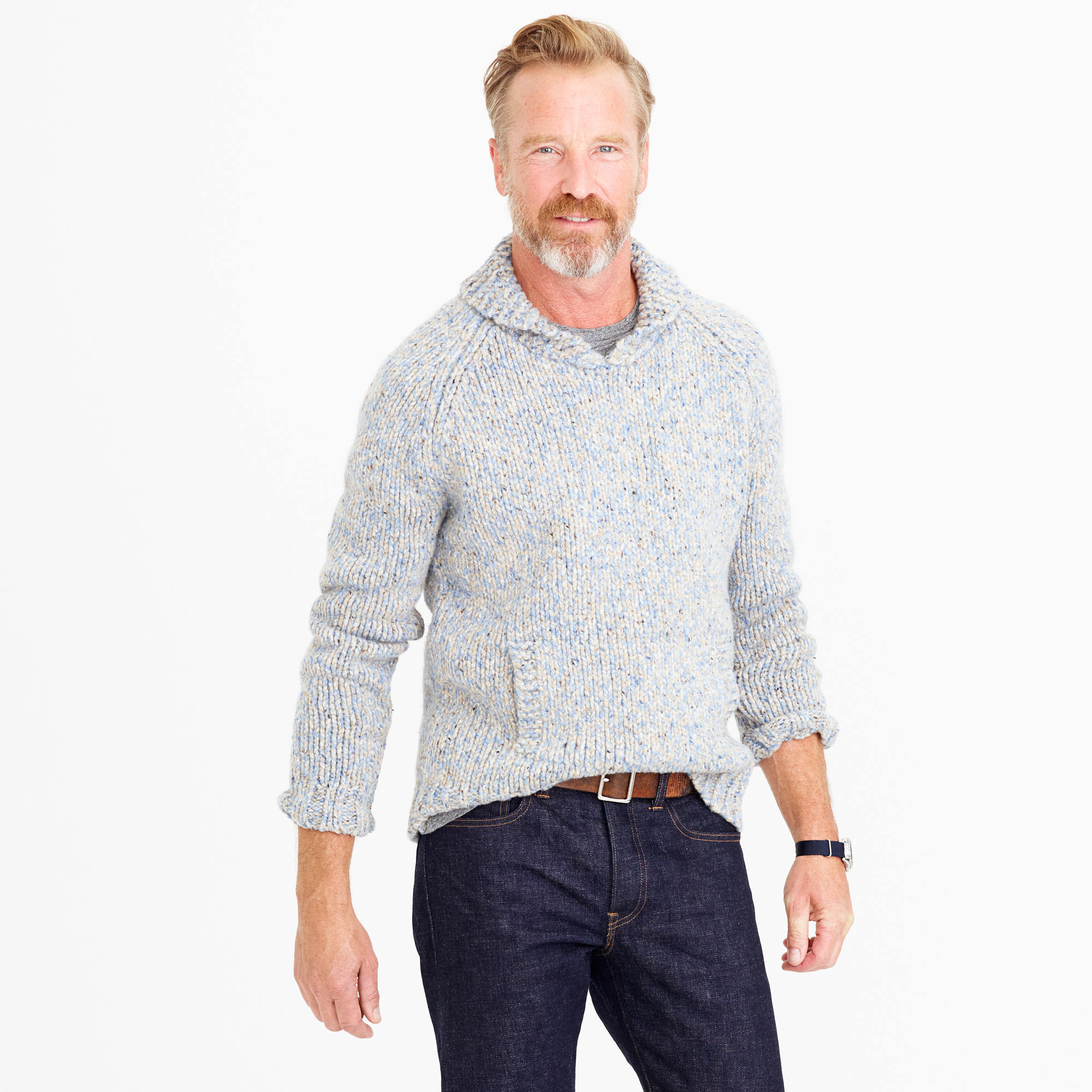 shawl collar sweater shawl-collar sweater in donegal wool ... jaawpna