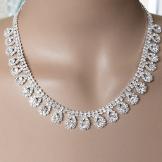 shimmering drops rhinestone necklace set pkslkdm