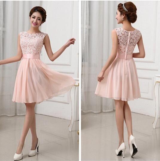 short bridesmaid dresses new vestidos de fiesta pink white chiffon short formal prom gowns back lace  evening hjchdwt