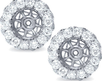 si .95ct diamond earring jackets 14k whtie gold halo style fits up to 7mm ftlefpu