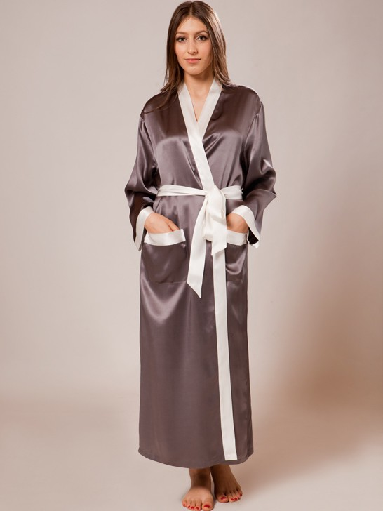 silk robe gown_charcoal/white silk robe gown_charcoal/white ... ogycvhi