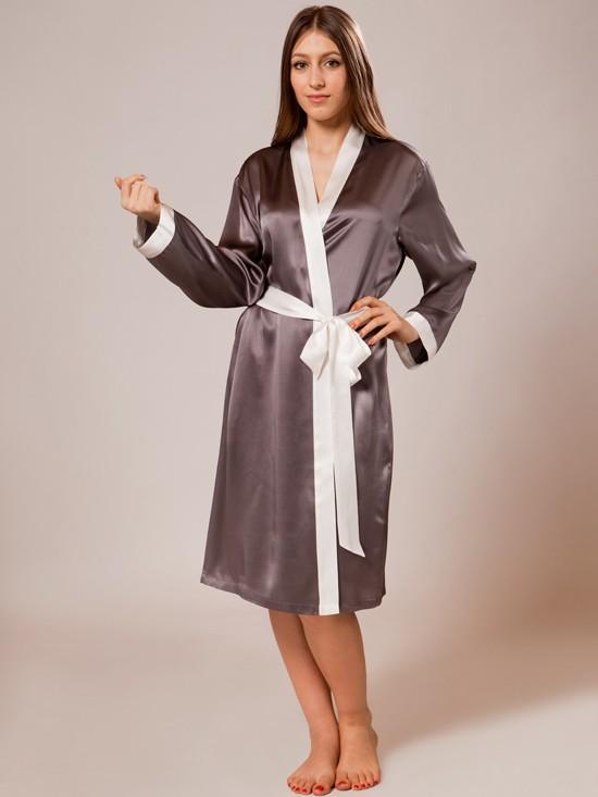 silk robe ... luxury silk robe_charcoal/white rcheaeb