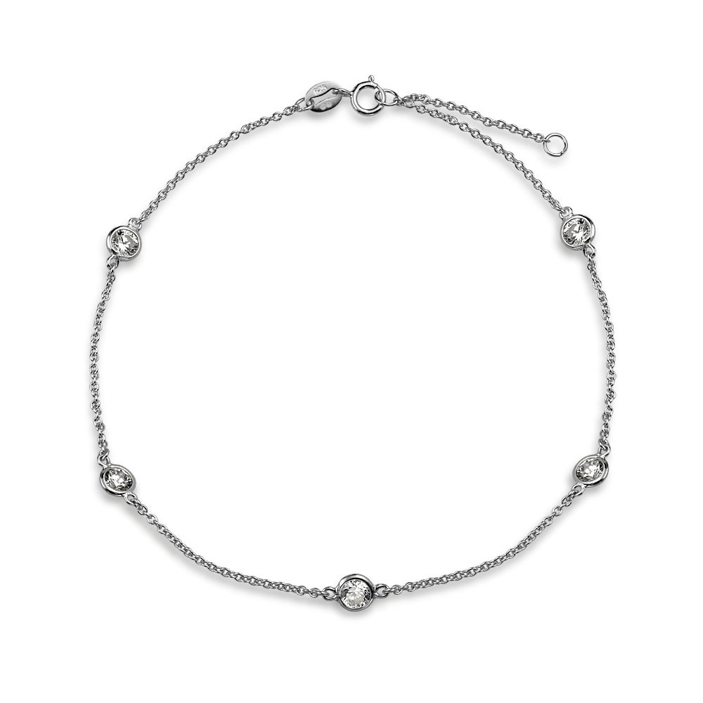 silver anklets bling jewelry cz by the inch sterling silver cz anklet 9in jpnhuqv