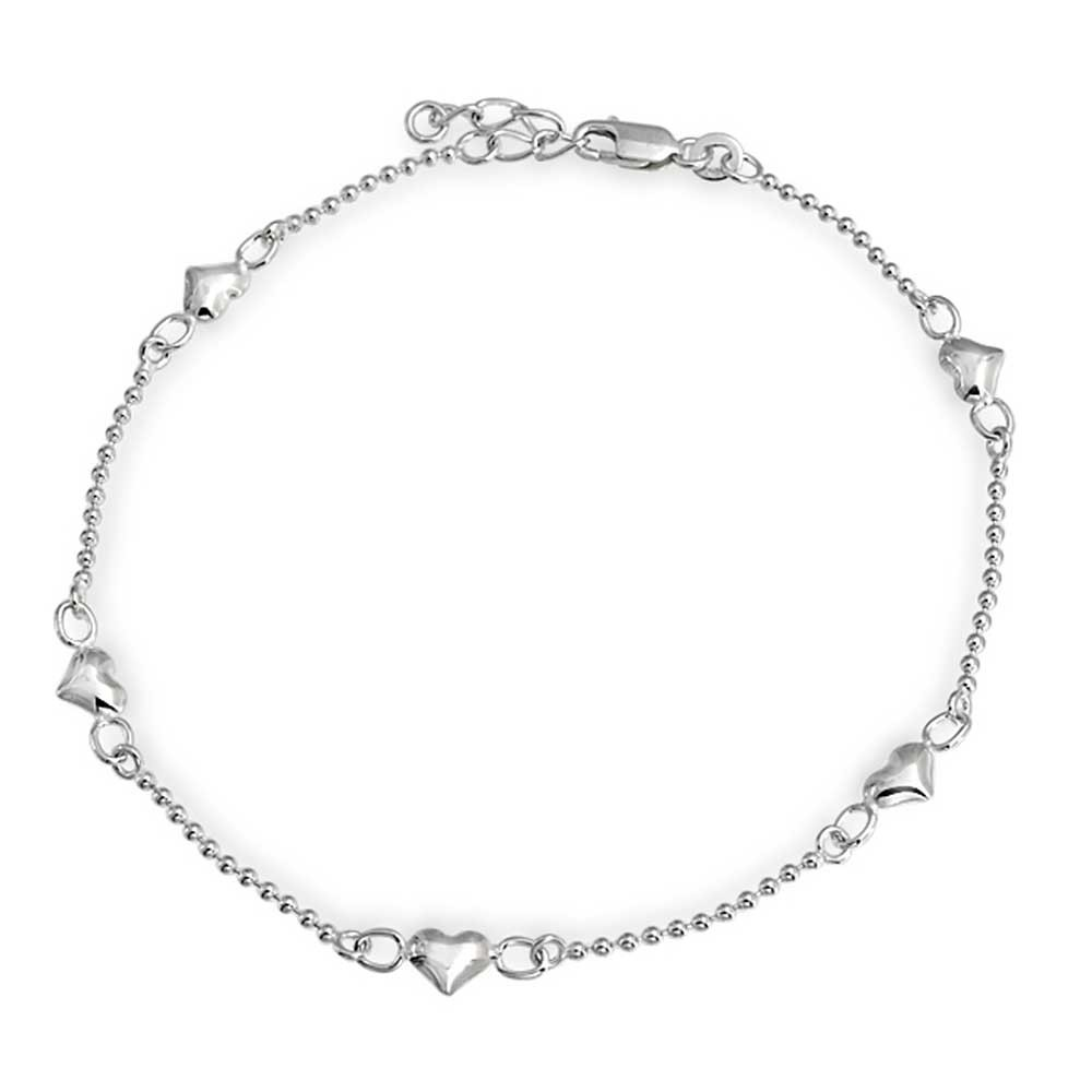 silver anklets bling jewelry small heart ball chain anklet ankle bracelet 925 silver 9in czwqbti