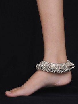 silver anklets bold ghungroo silver anklet - set of 2 lqbzljk