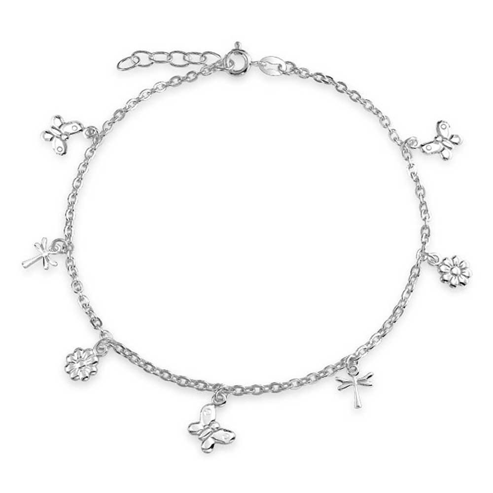 Silver anklets for Charm bling jewelry butterfly sterling silver flower dragonfly charm anklet 9in cfmflbj