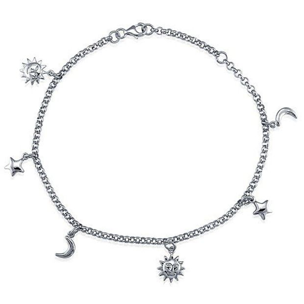 Silver anklets for Charm sterling silver anklet ankle bracelet with sun moon stars charms #a024 guottpw