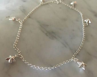 Silver anklets for Charm sterling silver anklet, silver stars anklet, silver anklet, sterling silver  charms, fashion wwoffni
