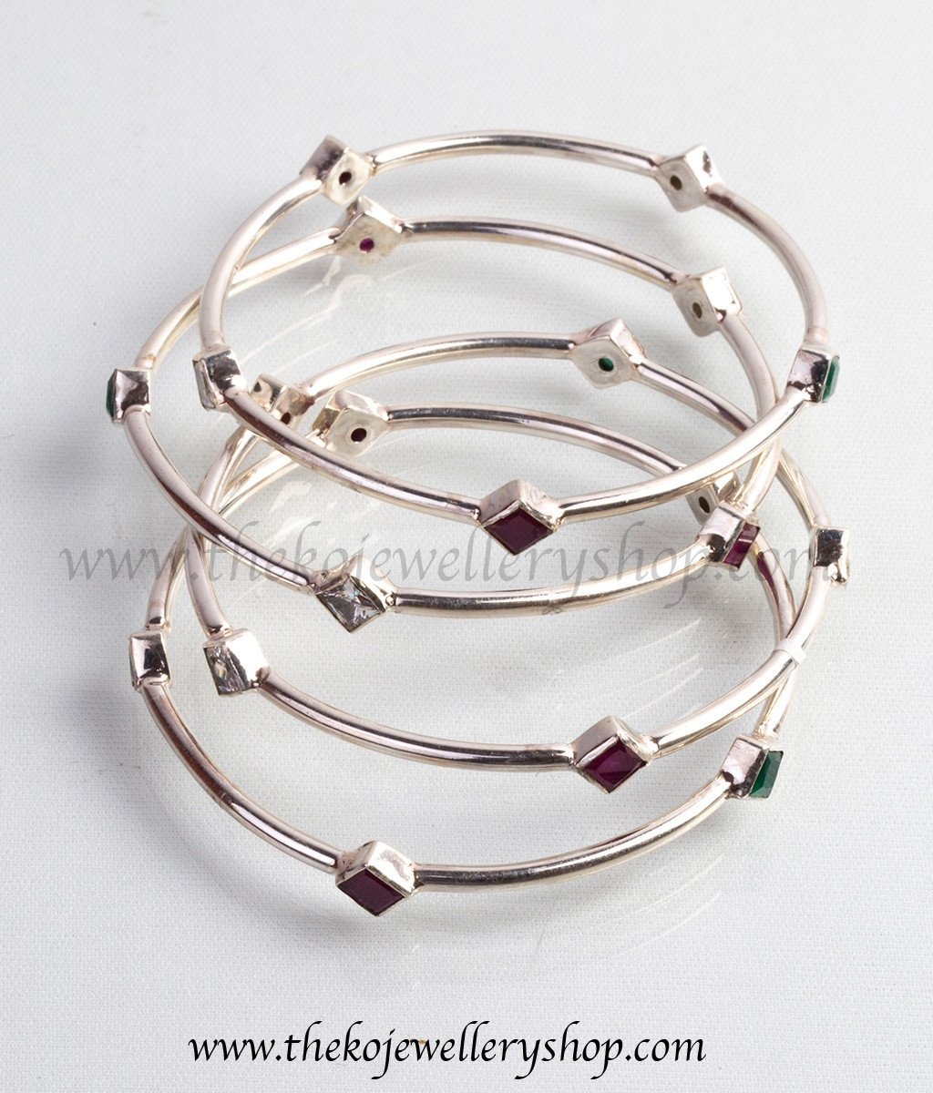 silver bangles 925 sterling silver diamond shapes on bangles for women ... glrodjc