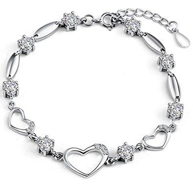 silver bracelets for women sterling silver bracelet women heart hand chain authentic crystal link  bracelets mothersu0027s day gift ufpcjqu