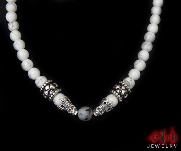 silver necklaces for women royal skulls hearts white marble bead silver necklace for women by s1ck  jewelry daunmam