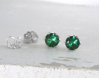 silver stud earrings silver emerald stud earrings emerald earrings may  birthstone jewelry green emerald koocwhq