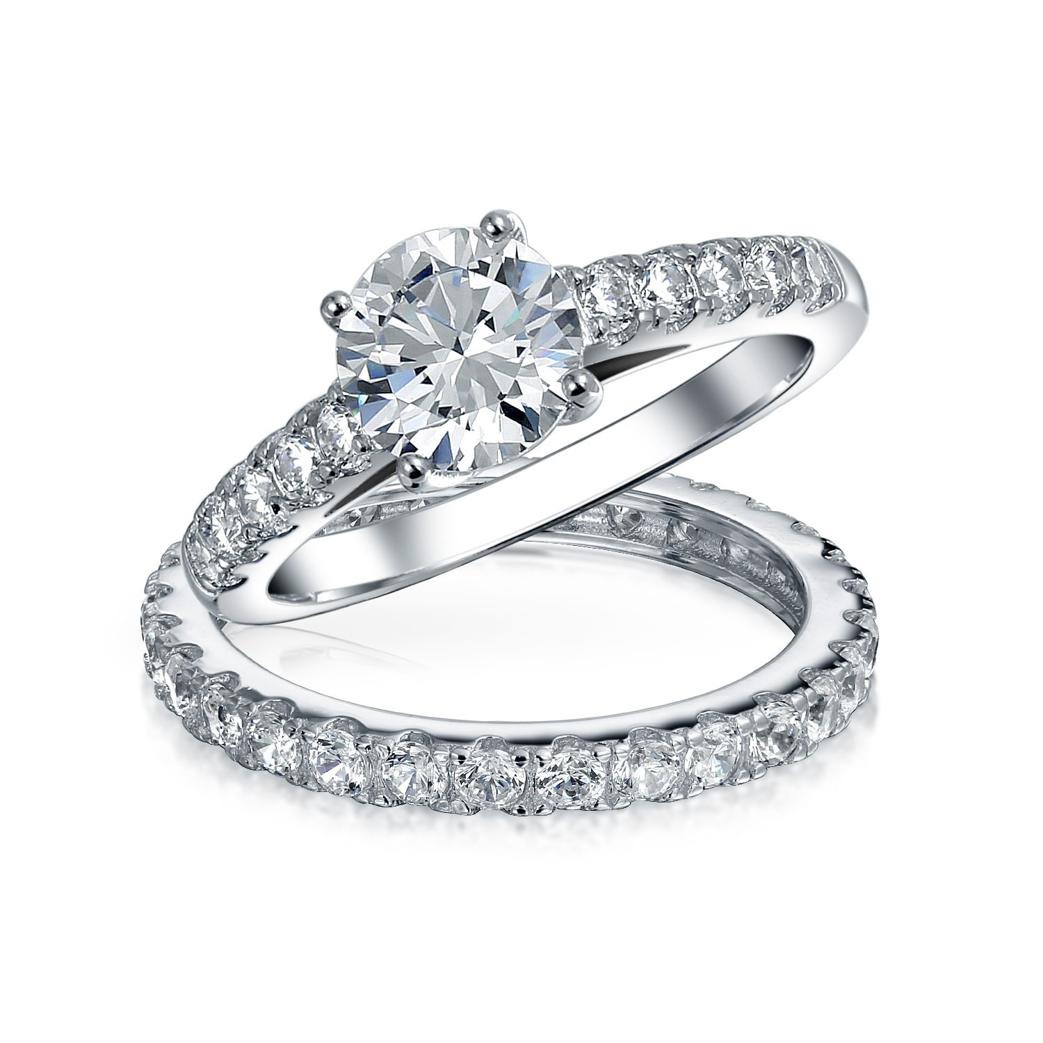 silver wedding rings bling jewelry bridal cz solitaire engagement wedding ring set wjevggy