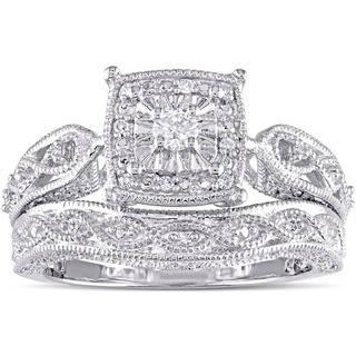 silver wedding rings miadora sterling silver 1/5ct tdw diamond milgrain bridal ring set ohjbnci