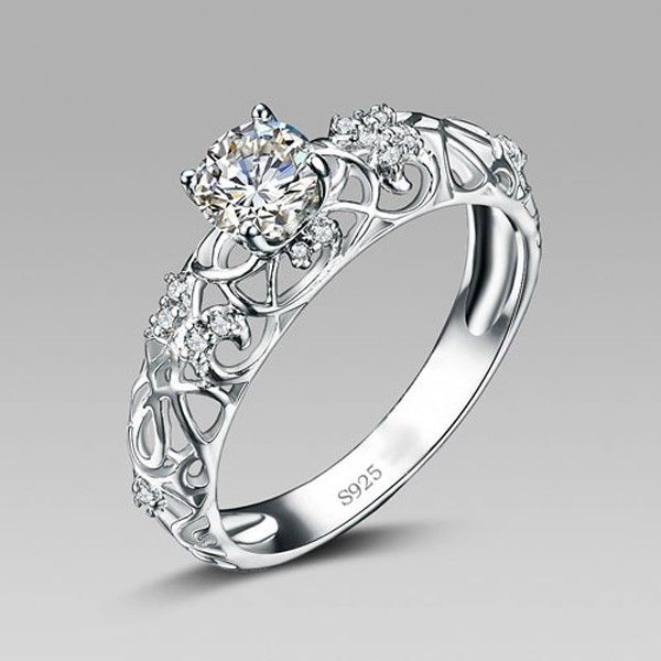 Silver Wedding Rings Retro Hollow Pattern 925 Sterling Silver Engagement  Ring Qnzhegg