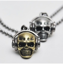 skull jewelry street edge funky skull headset necklace yewqnhy