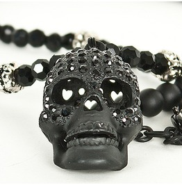skull jewelry super unique cubic black skull pendant beads necklace yejdxwa