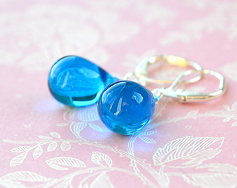 sky blue earrings, blue bead earrings, blue dangle earrings, capri blue  teardrop earrings NHEGWZZ