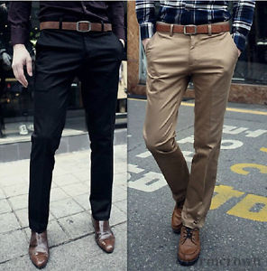 slim fit dress pants image is loading new-korean-fashion-mens-slim-fit-solid-dress- wfrlcyg