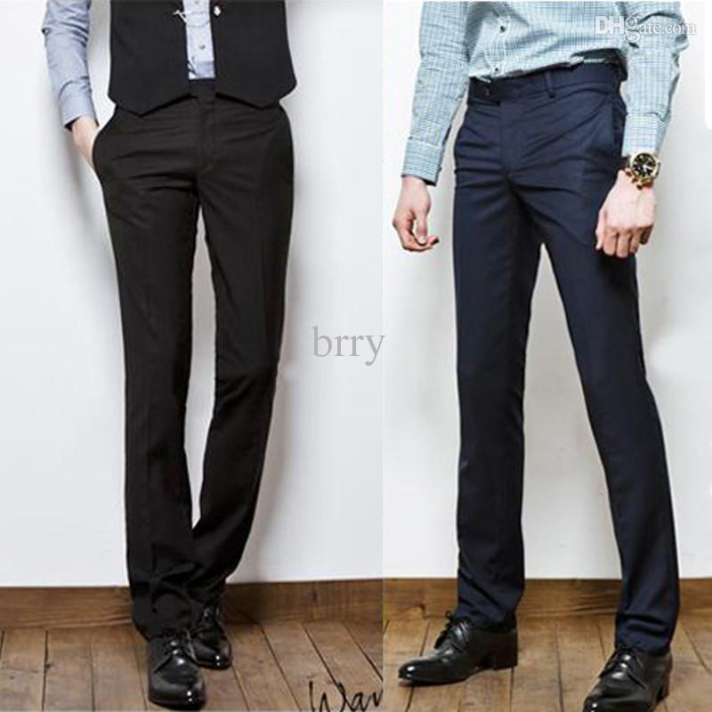 slim fit dress pants online cheap wholesale new menu0027s slim fit casual formal straight dress pants  smooth trousers skspejc