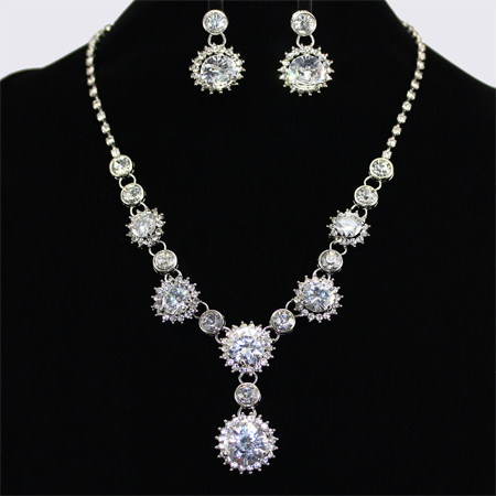sliver plating crystal rhinestone costume jewelry necklaces set qzyohgd