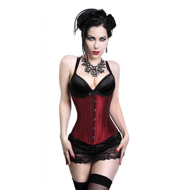 solid burgundy underbust corset jzrhono