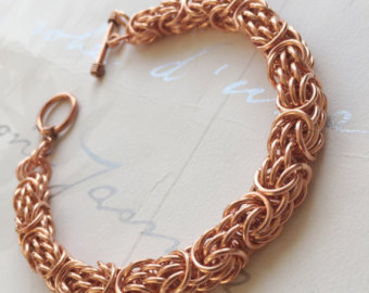 solid copper bracelet, mens copper jewelry, tryzantine chainmail, statement  bracelet, copper anniversary gujpwrv