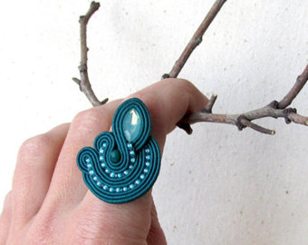 statement ring for woman gift unique rings teal jewelry fashion ring  gift|for|her tckouuw