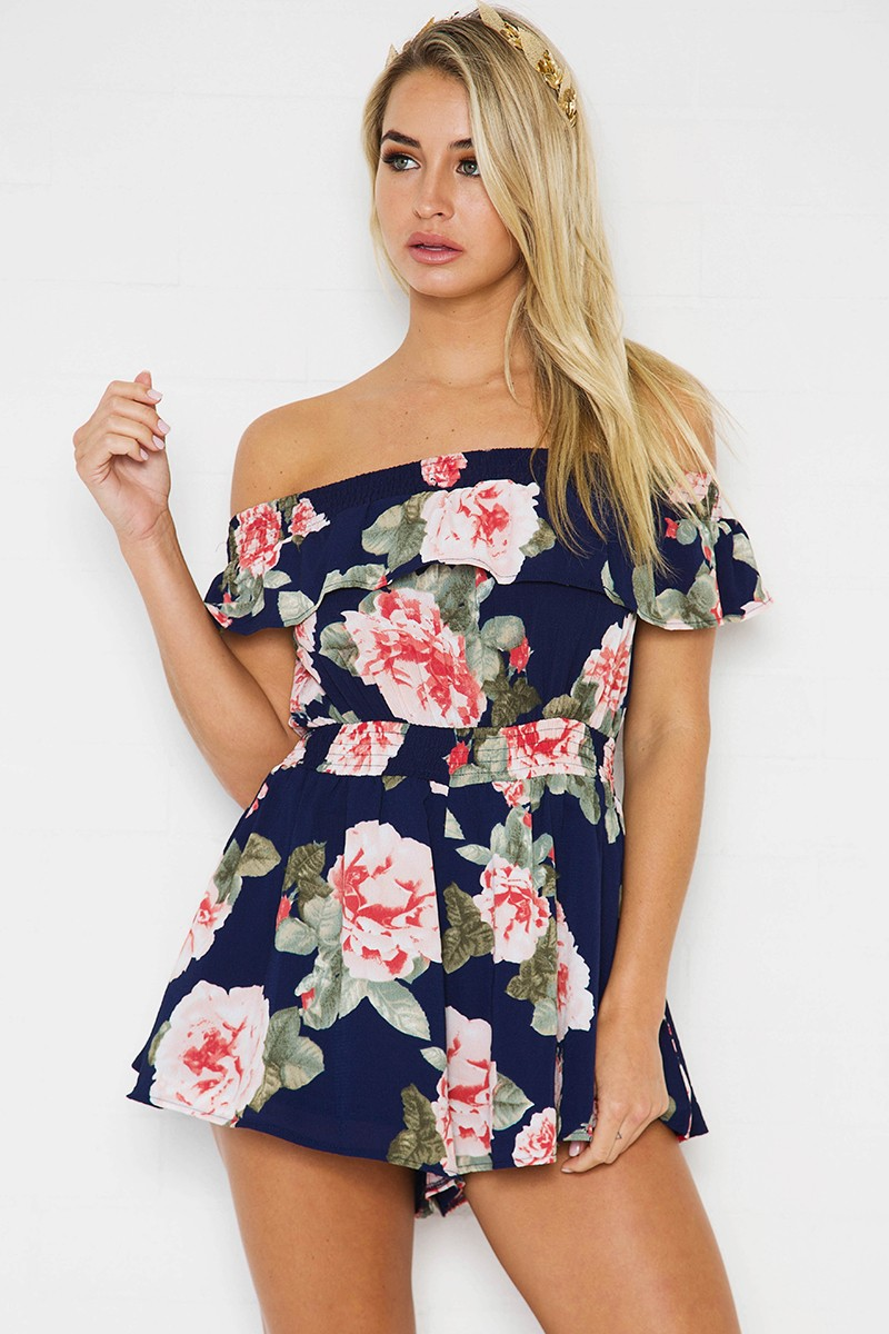stella floral playsuit - navy/coral floral xucdemc