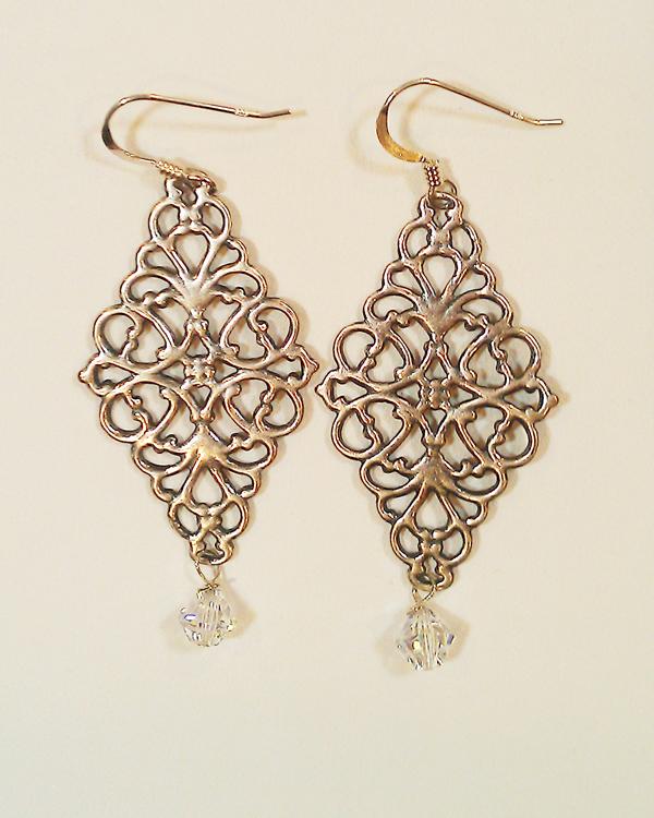 sterling silver diamond filigree earrings owntjxf