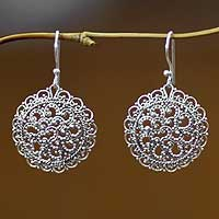 sterling silver filigree earrings, u0027chrysanthemumu0027 - sterling silver  earrings from indonesia swtduca
