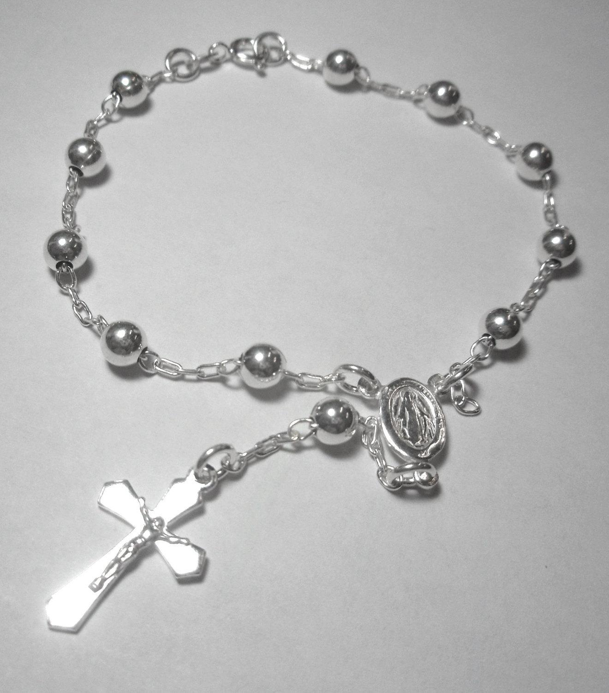 sterling silver rosary bracelet, rosary, rosary bracelet, catholic jewelry,  confirmation jewelry, tnttxdi