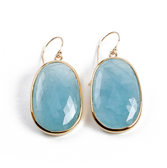 stone jewelry 14k yellow gold | aquamarine slice earrings wlxascv